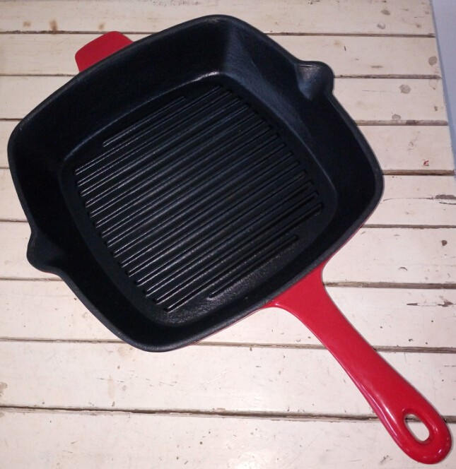 red enamel cast iron square grill pan
